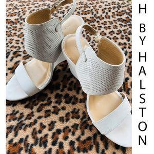 H by Halston High Wedge Suede Sandal- Mckenzie